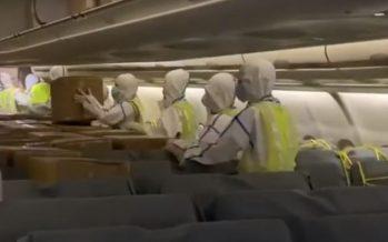 El corredor aéreo sanitario entrega 57 millones de equipos de protección